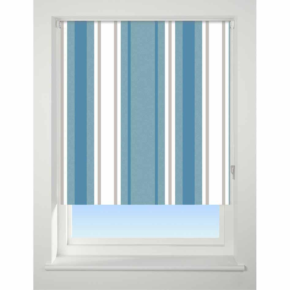 Universal Patterned Blackout Roller Blind Stripe blue