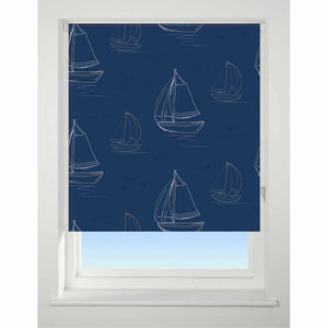 Universal Patterned Blackout Roller Blind Boats Navy