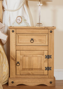 single drawer and door bedside cabinet in room