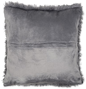 grey fluffy cushion rear