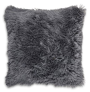 fluffy grey cushion front