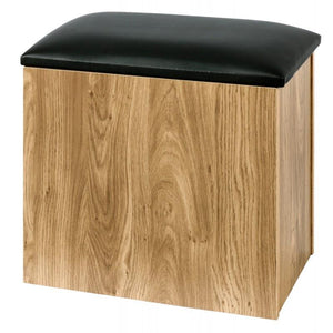 holland ottoman storage stool in oak