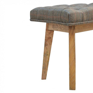 Multi Tweed And Wood Telephone Stool