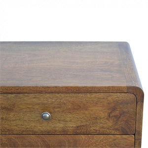 Two Drawer Curved Bedside Cabinet