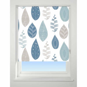 Universal Patterned Blackout Roller Blind Leaf blue