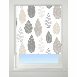 Universal Patterned Blackout Roller Blind Leaf neutral