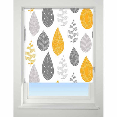 Universal Patterned Blackout Roller Blind Leaf yellow