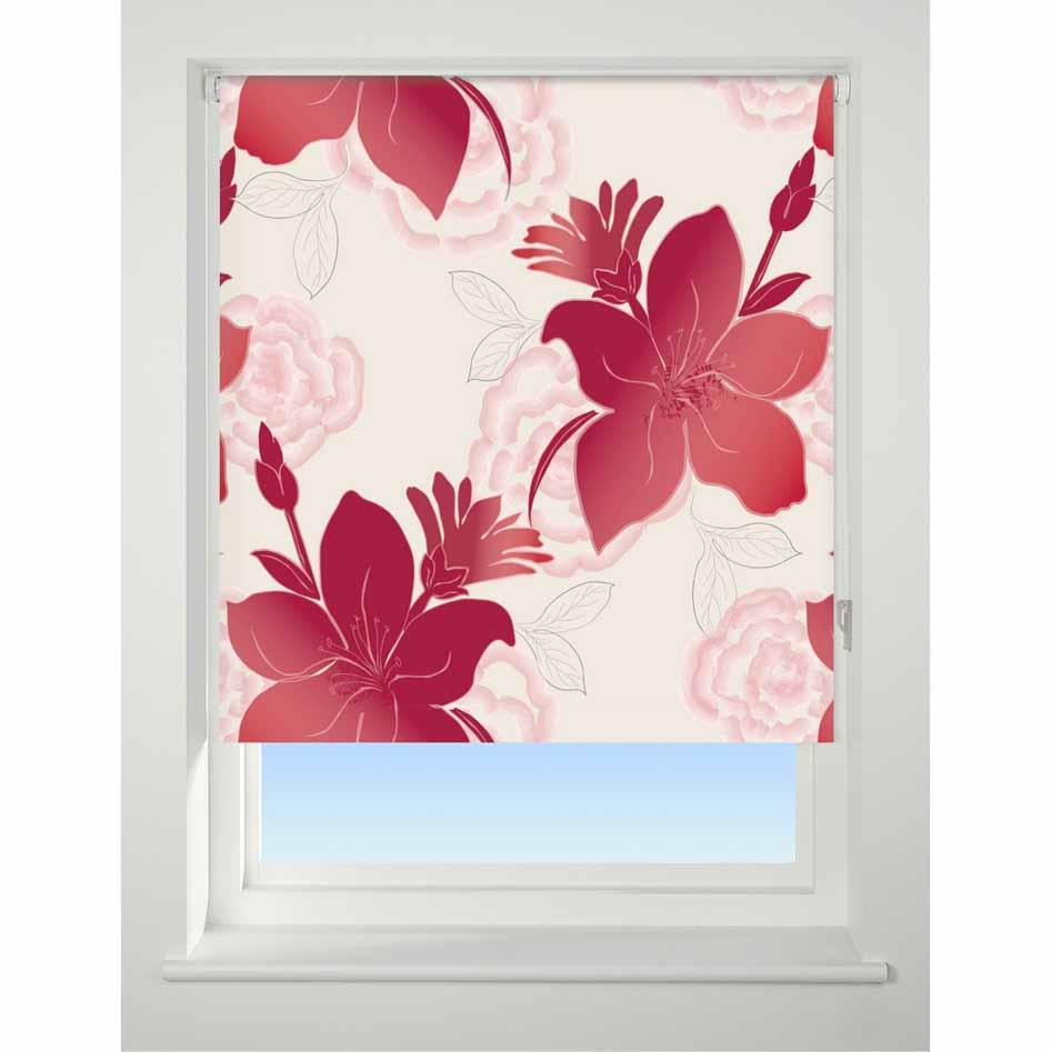 Universal Patterned Blackout Roller Blind Lily red