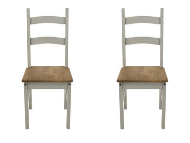a pair of grey wooden corona chairs