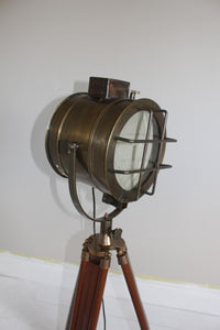Nautical Searchlight Style Floor Lamp On Extendable Tripod light