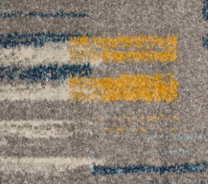 bombay teal and ochre rug close up