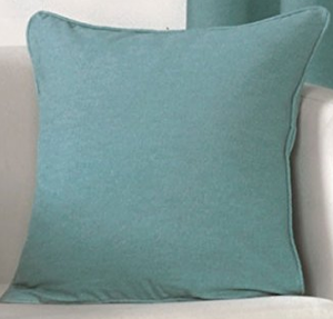 teal cushion on sofa