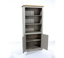 grey wooden bookcase doors open