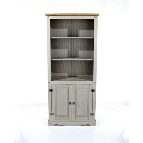 grey wooden cookcase with doors