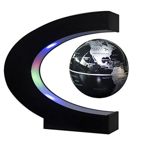 Floating Globe with LED Lights C Shape Magnetic Levitation