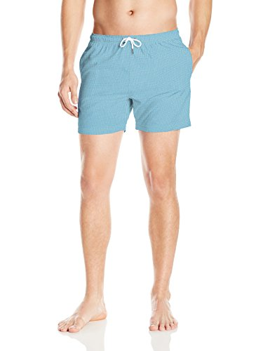 Bermies Men's Classic Printed Volley Swim Trunk, Bluish Green, Medium