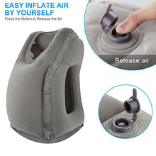 grey inflatable pillow for travel airplanes car road trip office nap