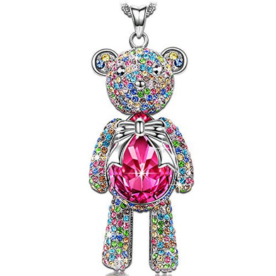 Teddy Bear Princess Ruby Birthstone Pendant Necklace
