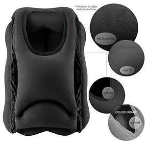 Travel Pillow, Portable Head Neck Rest Inflatable Pillow from HOMCA, Design for Airplanes, Cars, Buses, Trains, Office Napping, Camping - Includes FREE Eye Mask (Black)