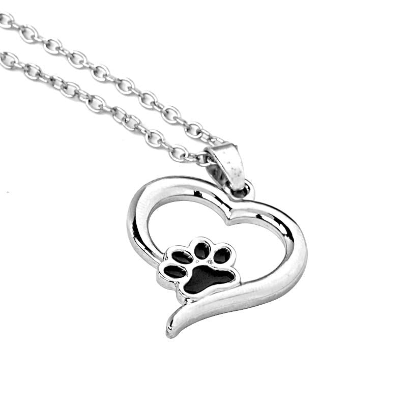 Heart shaped dog paw print choker necklace pendant best friends necklace