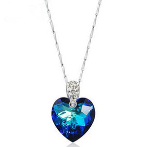 blue heart crystal pendant necklace zircon cubic zerconia cz best beautiful jewelry