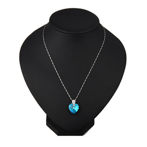 Blue Zircon Crystal Heart Pendant Necklace