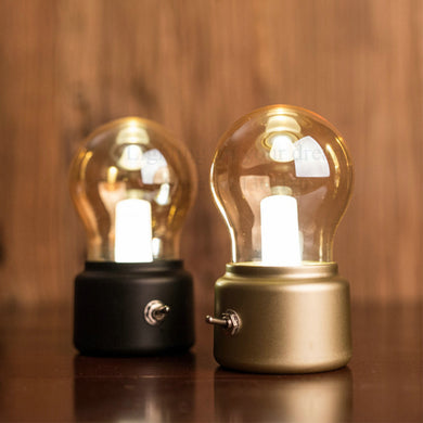 New Vintage Bulb Night Light Retro USB Lamp Rechargeable luminaria Nightlight luces LED energy-saving Book lights Mini Bed Lamps