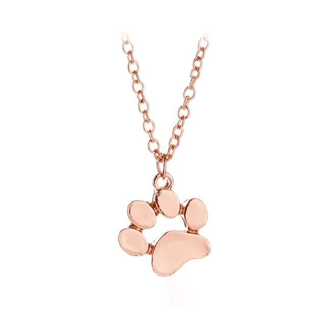 Dog Paw Print Necklace Rose Gold Silver
