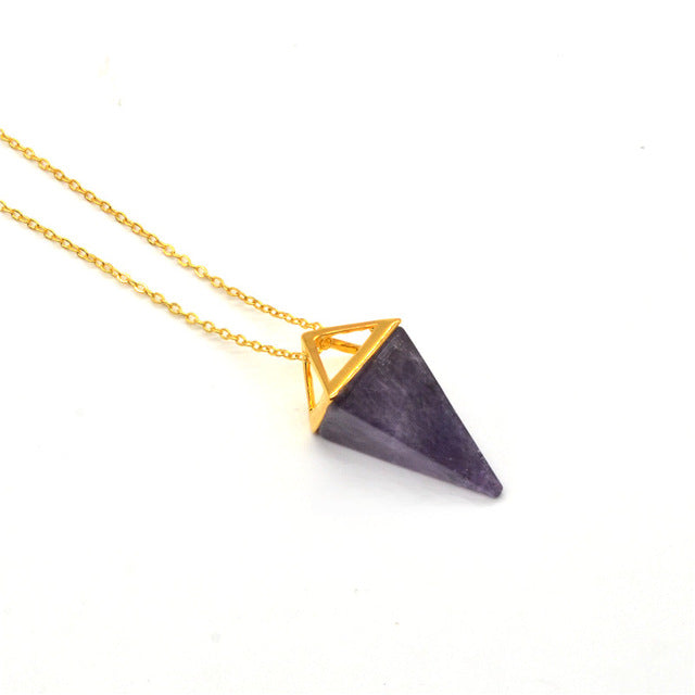 Natural Gem stone Pyramid Pendant, Point Spike Pendant, Gem Pendulum Necklace Pendant, Gold-color brass Double Pyramid