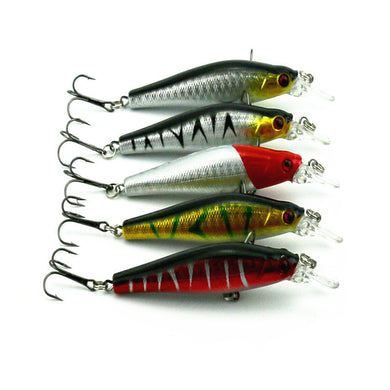 5pcs Crank Bait Fishing Bass Lures Diving Crankbait Minnow Treble Hooks Baits XTJ