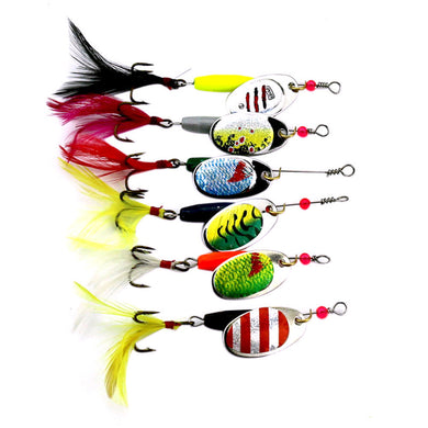 6pc fishing lures hard bait Spoon Metal Fishing Lures Set Crank Bait Bass With Tackle Hook