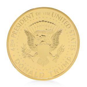 trump coin gold plated eagle backside collector coin commemorative