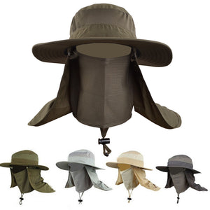 Hot Sale Bucket Hat Outdoor Unisex Brim Sun Block Quick Drying Fishing Hat Big Wide Brim Neck Flap Climbing Hats
