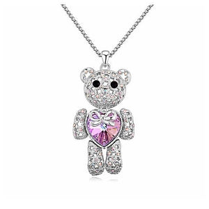 necklace jewelry pendant teddy bear choker necklace best friend friends love valentines mothers day rose gold crystal swarovski silver
