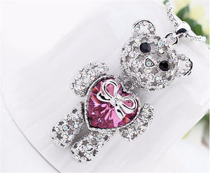 Teddy Bear Princess Pendant Necklace