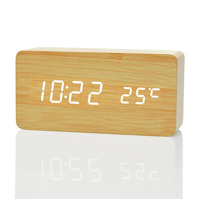 Wood grain LED Alarm Clock