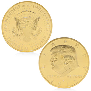 trump coin front and back gold plated collector coin store