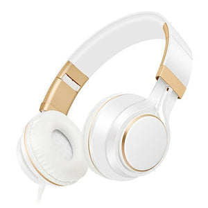 gold headphones strong bass with microphone beats
