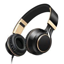 Gold Headphones with Microphone Foldable Headset with Strong Bass