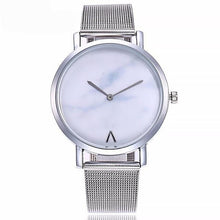 Mesh Band Marble Quartz Watch Casual Stainless Steel Wristwatches Free Shipping
