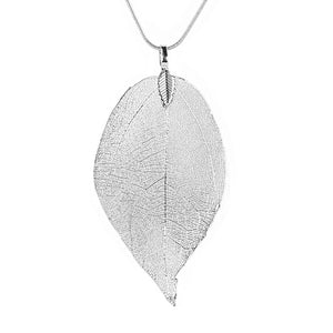 Leaf Pendant Necklace Jewelry Rose Gold Silver
