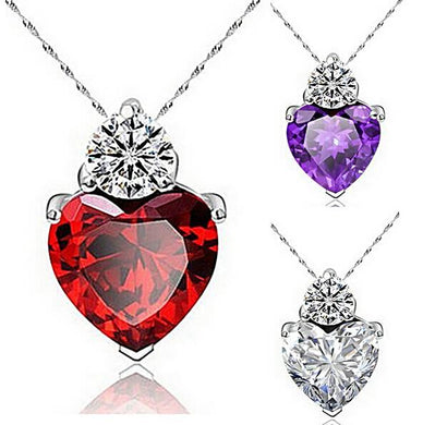 heart shaped heart necklace heart pendant zircon gemstone cubic zerconia cz