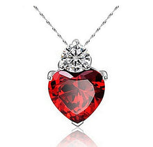 Red Zircon heart shaped heart necklace heart pendant zircon gemstone cubic zerconia cz