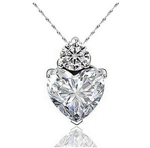 Zircon Clear heart shaped heart necklace heart pendant zircon gemstone cubic zerconia cz