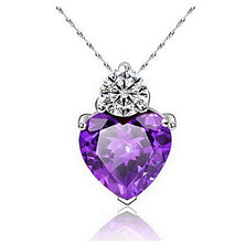 Zircon Purple heart shaped heart necklace heart pendant zircon gemstone cubic zerconia cz