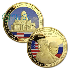 1PC Gold Silver Trump Souvenir Coins USA Russia Summit 2018 Finland Preisident Trump Challenge Coin Arts Gifts Collection