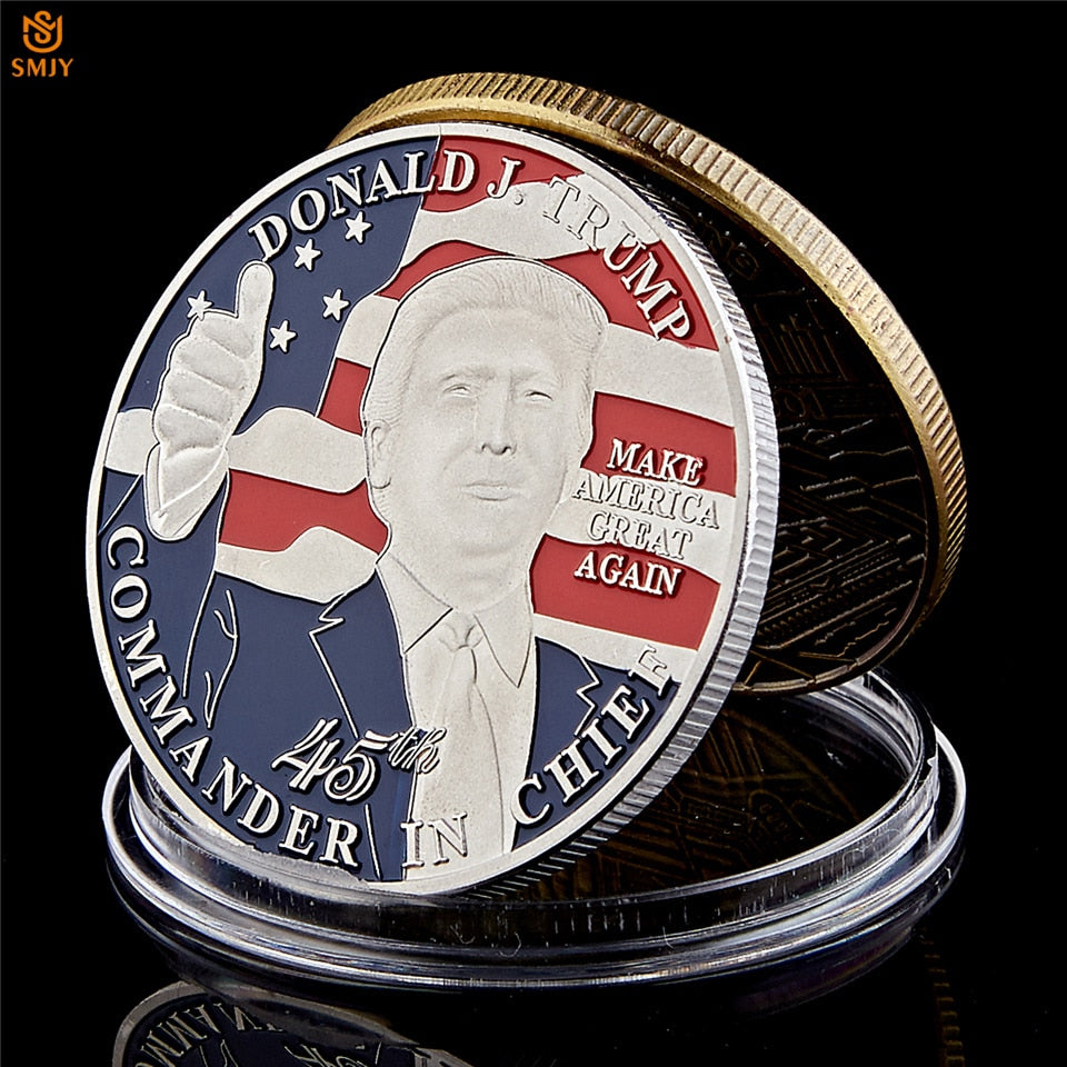 US 45th President Donald Trump Memorial Gift USA Eagle Silver Plated Color Replica Coin For Collection