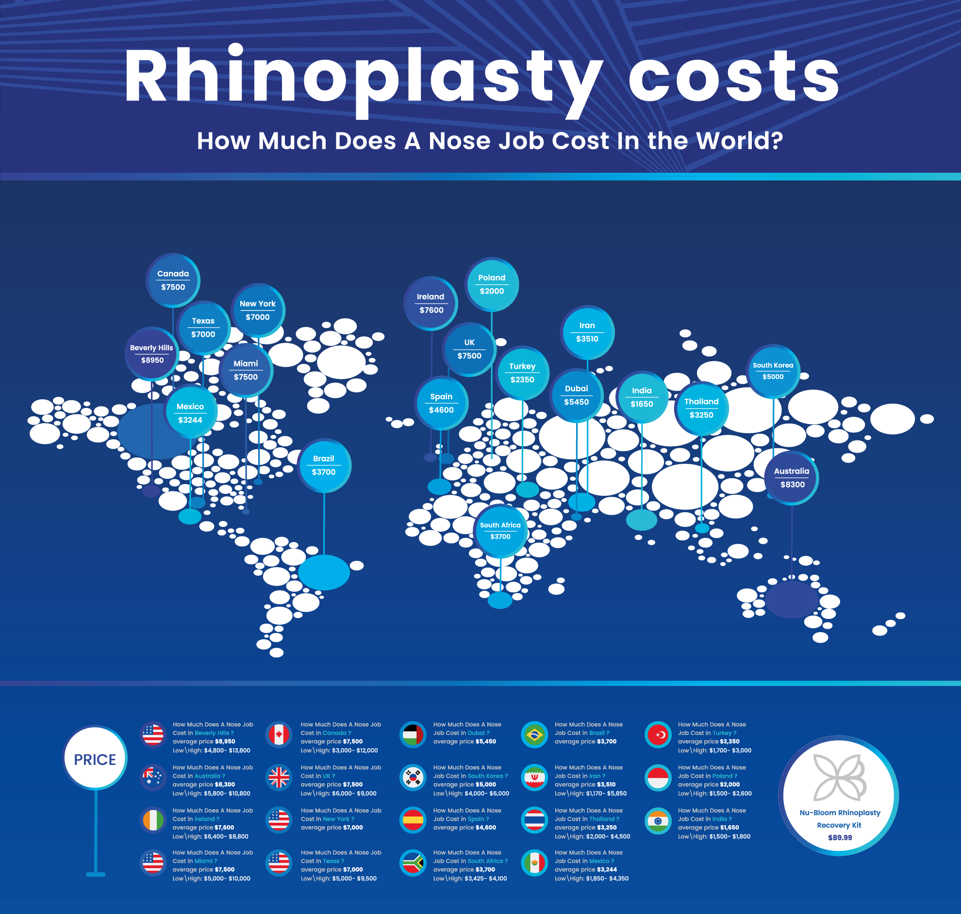 Rhinoplastry cost infographic