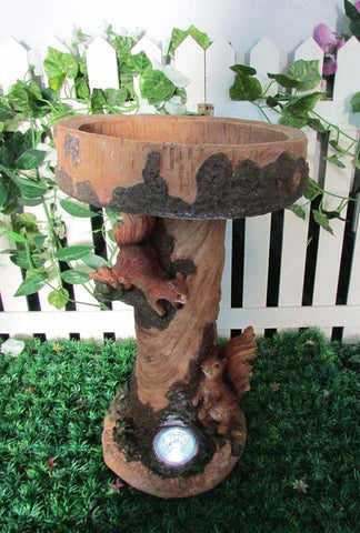 Solar Garden Bird Bath Plant Holder - Squirrels