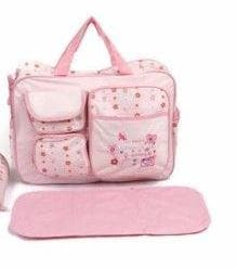 Baby Diaper Bag With Changing Mat Pink/Blue/Beige